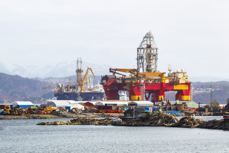 subsea: Oil platforms under maintenance near Bergen, Norway.