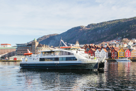 hardanger: BERGEN, NORWAY - 4 March, 2017: Ferryboat  in Bergen, Norway. Ferry commits a cruise on the fjord.