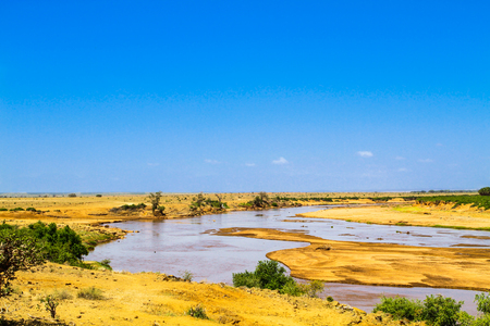 Galana river. Tsavo East park. Kenya. Stock Photo