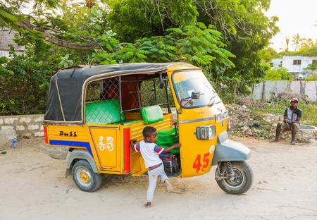 WATAMU, KENYA - January 22, 2017: Tuk Tuk taxi on street of Watamu. Editorial