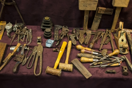 outworn: Various old tools for woodworking used by craftsmen