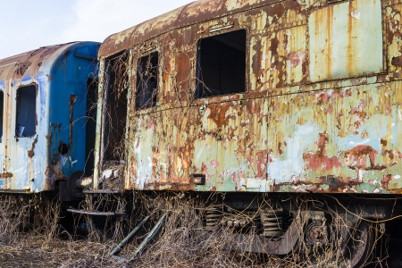buffers: Abandoned passenger cars invaded by rust and vegetation