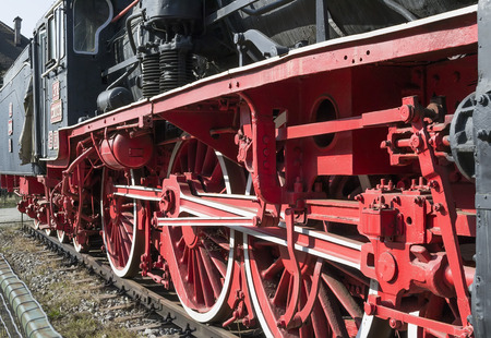 traction: Close up of a vintage locomotive s traction system