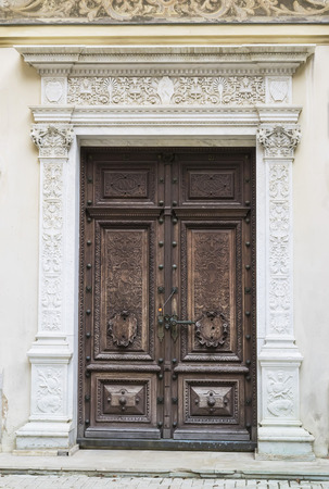 Detailed view of a sealed door belonging to a palace