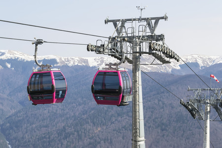 friction: Transportation system of two cable cars at altitude in the mountains Stock Photo