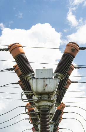 y axis: Series of big electric coils for electrical energy distribution Stock Photo