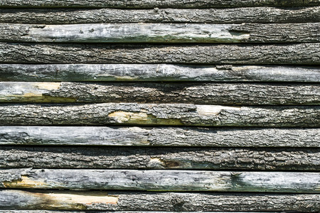 disposed: Wooden slats disposed horizontally forming a wall  Stock Photo