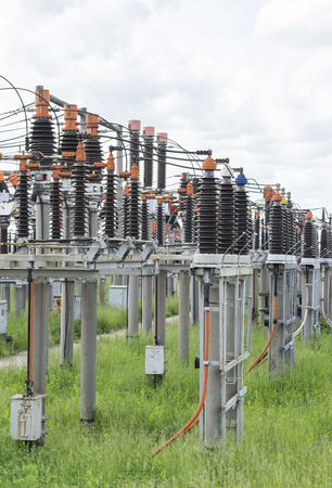 electric power station: Small and medium power electric coils array at an electric transformation station