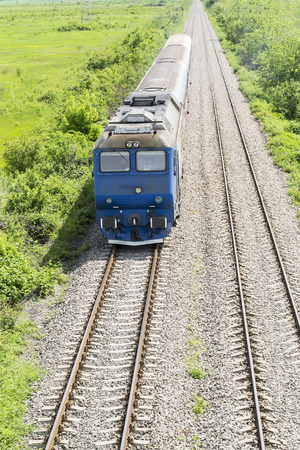 buffers:  Aerial view of an incoming train with vanishing point in background