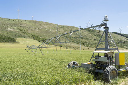 pivot: Center pivot irrigation system used to deliver precise quantities of water in a designated field area by moving in circle