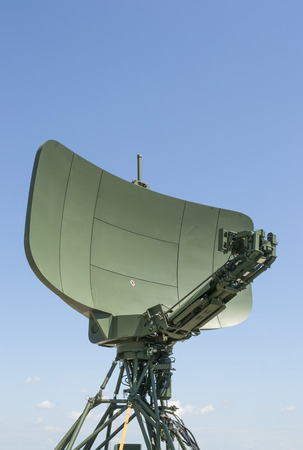 long range: Modern military radar with long range target localization capabilities,front view