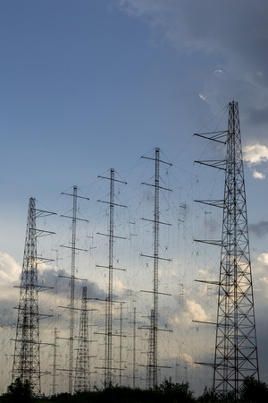 hertz: Large network of antenna array for radio communications, at sunset Stock Photo