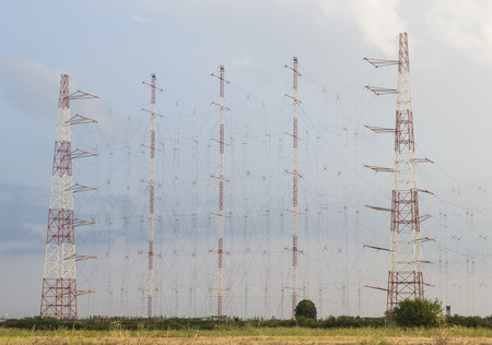 Tall installation of radio antennas forming a network for radio communications at long distance photo
