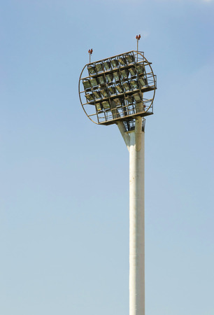 reflectors: High pole with powerful array of reflectors for sports arena illumination