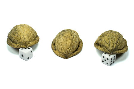 guessing: Three nutshells with dice under two of them , as a conceptual depiction of gambling, luck or guessing game, isolated on white Stock Photo