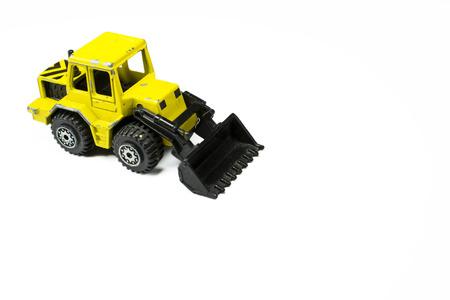 cargador frontal: Juguete Maqueta de una maquinaria de construcci�n cargador frontal en blanco