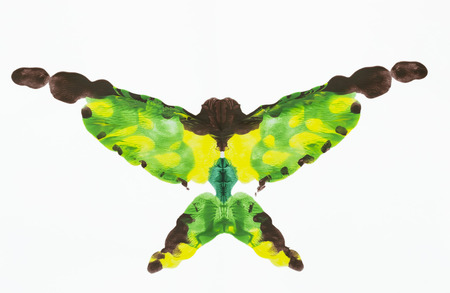 similar: Abstract shape similar to a butterfly made from symmetrical blending of acrylic painting colors, isolate on white