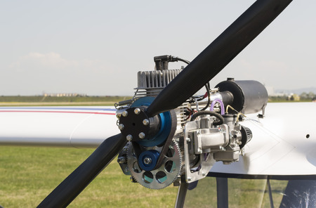 carburettor: Small size light aircraft engine mounted on the upper wing