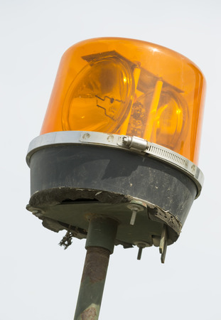 lighting system: Emergency vehicle lighting system detail orange beacon with rotating mirrors
