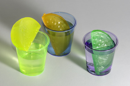 reusable: Colored Shot Drinks with Reusable Ice Cubes, Isolated