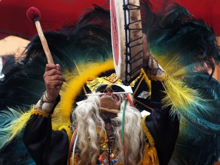 the indian shaman play on thje drum Stock Photo - 6269840
