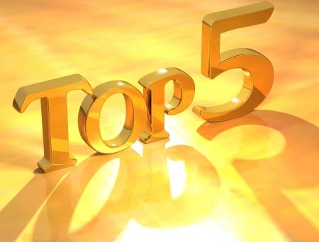 numero diez: 3D Top 5 oro texto sobre fondo amarillo