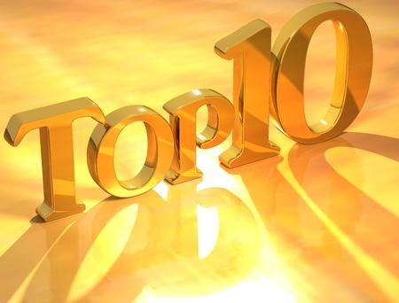 numero diez: 3D Top 10 oro texto sobre fondo amarillo Foto de archivo