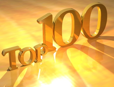 deserve: 3D Top 100 Gold Text on yellow background Stock Photo
