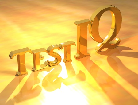 iq: 3D Test IQ Gold text on yellow background Stock Photo