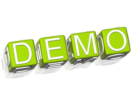 demo: 3D Demo Green Cube text on white background Stock Photo