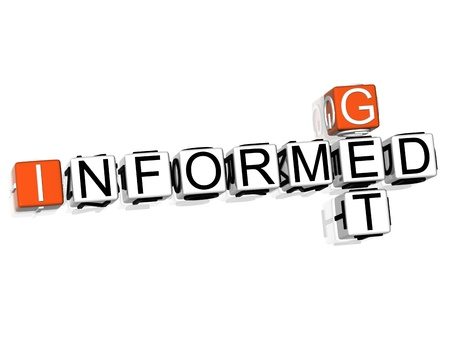 informed: 3D Get Informed Crossword text on white background
