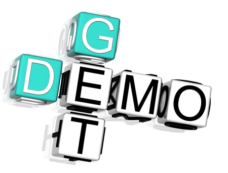 3D Get Demo Crossword text on white background Stock Photo - 8901525