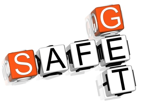 3D Get Safe Crossword text on white background photo