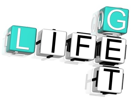 3D Get Life Crossword text on white background photo