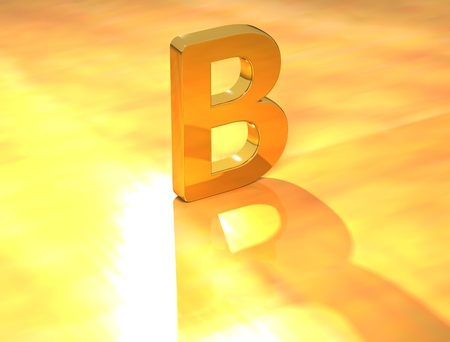 3D Gold Letter  font on yellow background Stock Photo - 8901533