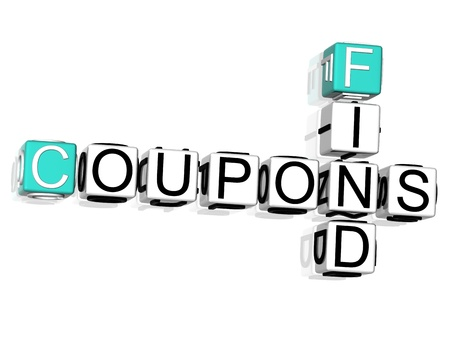3D Coupons Find Crossword text on white background Stock Photo - 8901490