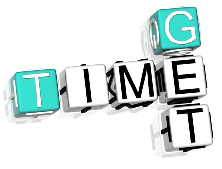 3D Get Time Crossword  text on white background photo
