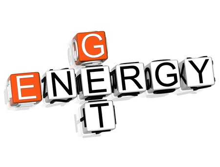 3D Get Energy Crossword  text on white background photo