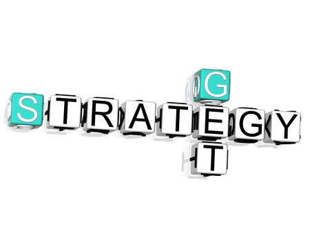 3D Get Strategy Crossword text on white background Stock Photo - 8901480