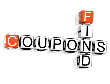 cheap prices: 3D Coupons Find Crossword text on white background