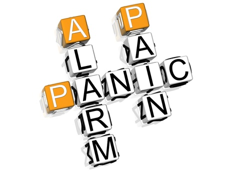3D Panic Crossword text on white background photo