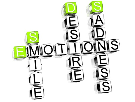 3D Emotions Crossword text on white background photo