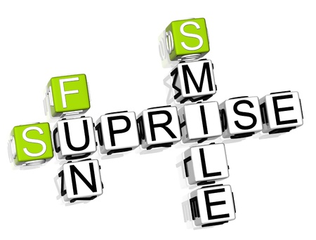 suprise: 3D Suprise Crossword text on white background