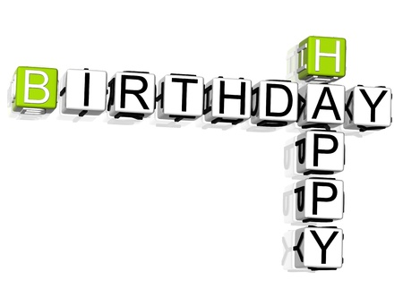 3D Happy Birthday Crossword text on white background photo