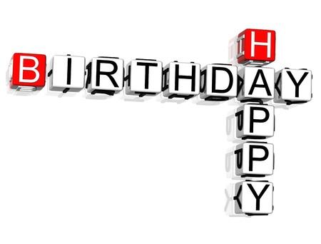 crossword: 3D Happy Birthday Crossword text on white background