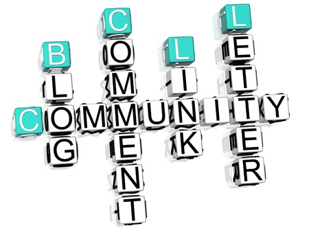 3D Community Crossword text on white background photo