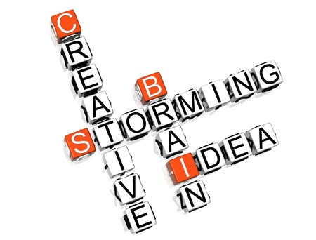 brain storming: 3D Brain Storming Crossword  on white background
