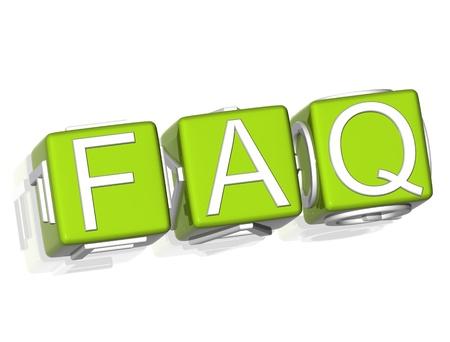 3D Faq green text on white background photo