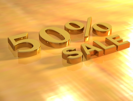 3D Sale gold text on gold background Stock Photo - 8901687