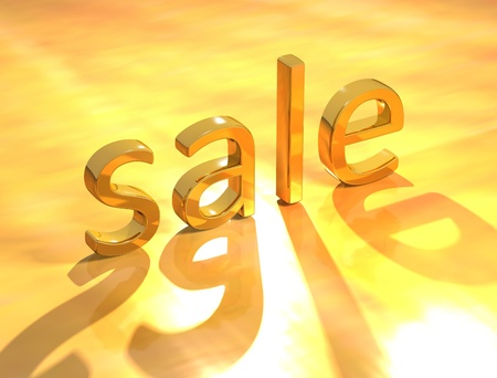 3D Sale gold text on gold background photo